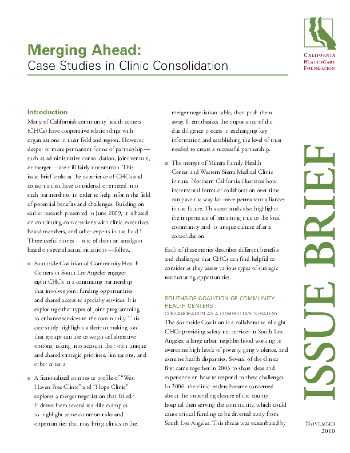 Merging Ahead: Case Studies in Clinic Consolidation - IssueLab