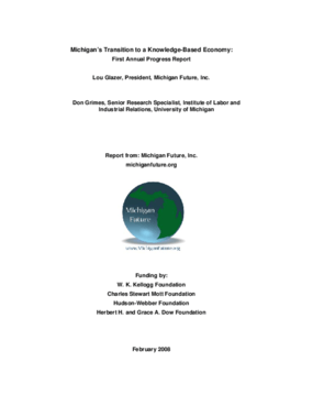 Michigan's Transition to a Knowledge-Based Economy: First Annual Progress Report