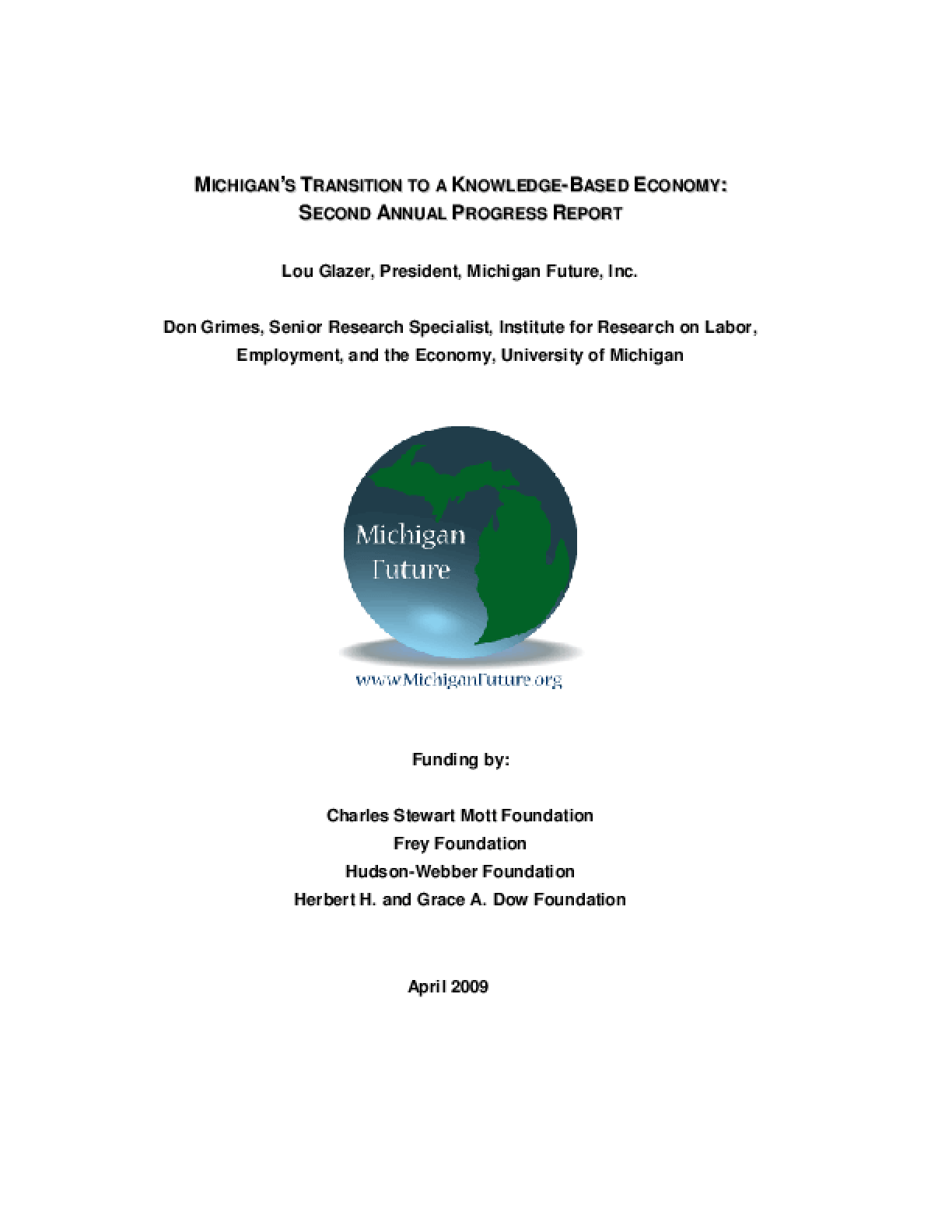 Michigan's Transition to a Knowledge-Based Economy: Second Annual Progress Report