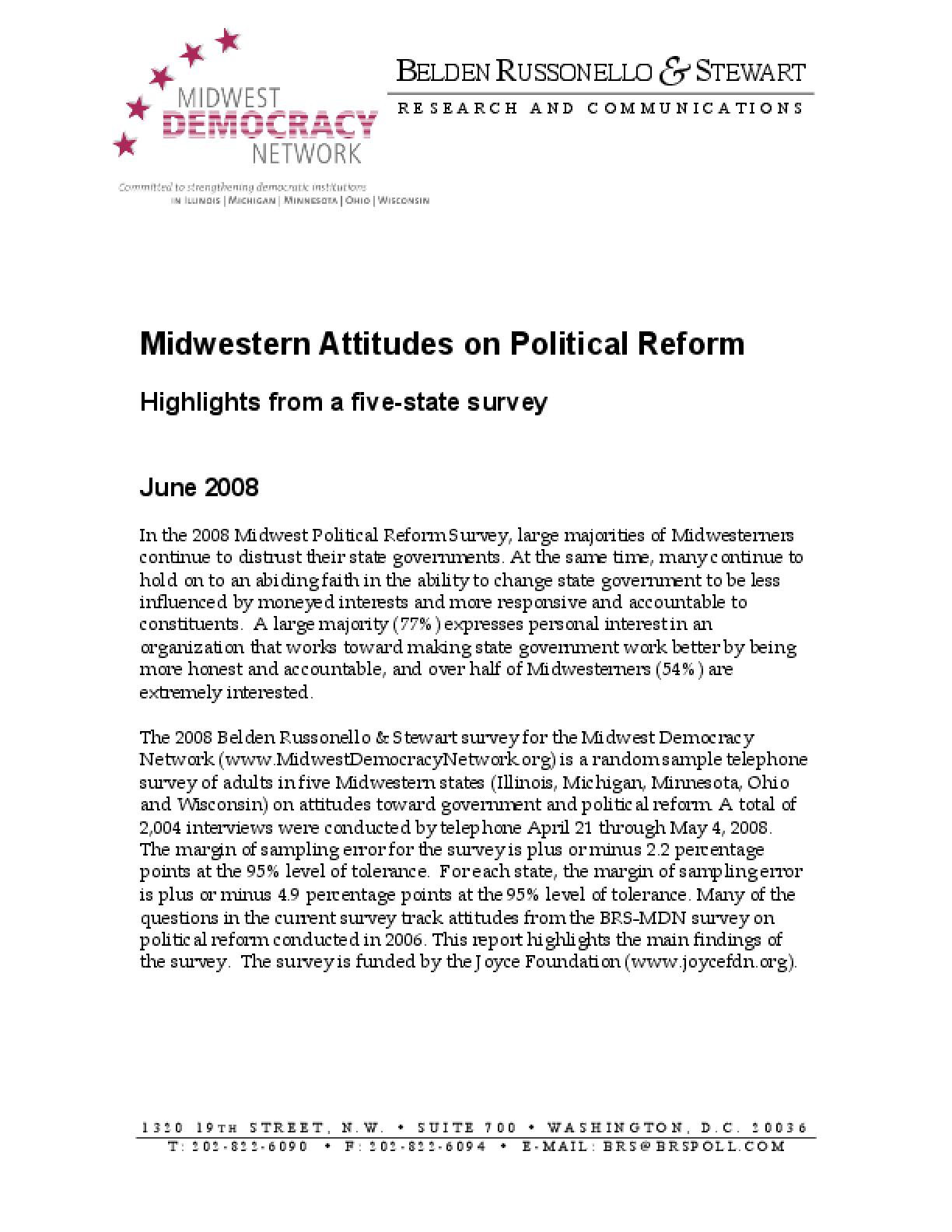 Midwestern Attitudes on Political Reform