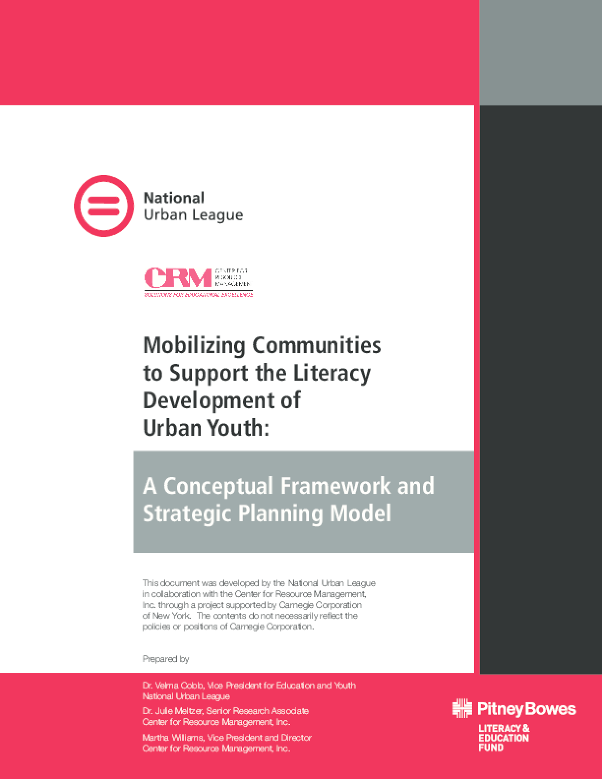 Mobilizing Communities to Support the Literacy Development of Urban Youth: A Conceptual Framework and Strategic Planning Model