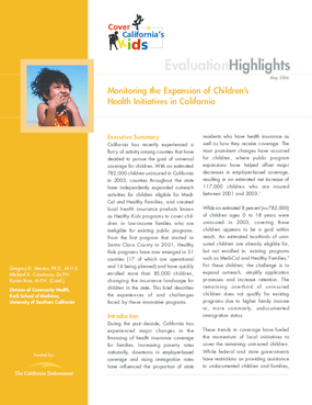 Monitoring the Expansion of Children's Health Initiatives in California