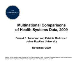 Multinational Comparisons of Health Systems Data, 2009