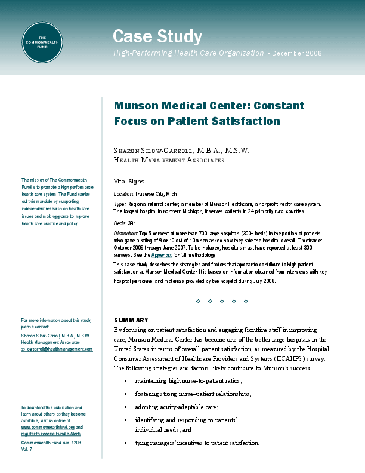 Munson Medical Center: Constant Focus on Patient Satisfaction