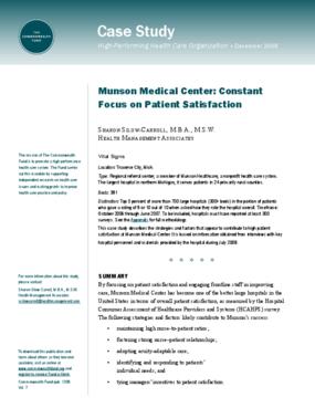 Munson Medical Center: Constant Focus on Patient Satisfaction