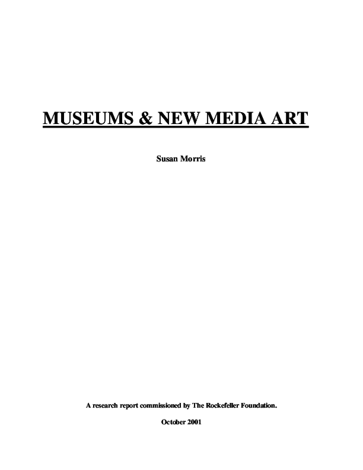 Museums and New Media Art