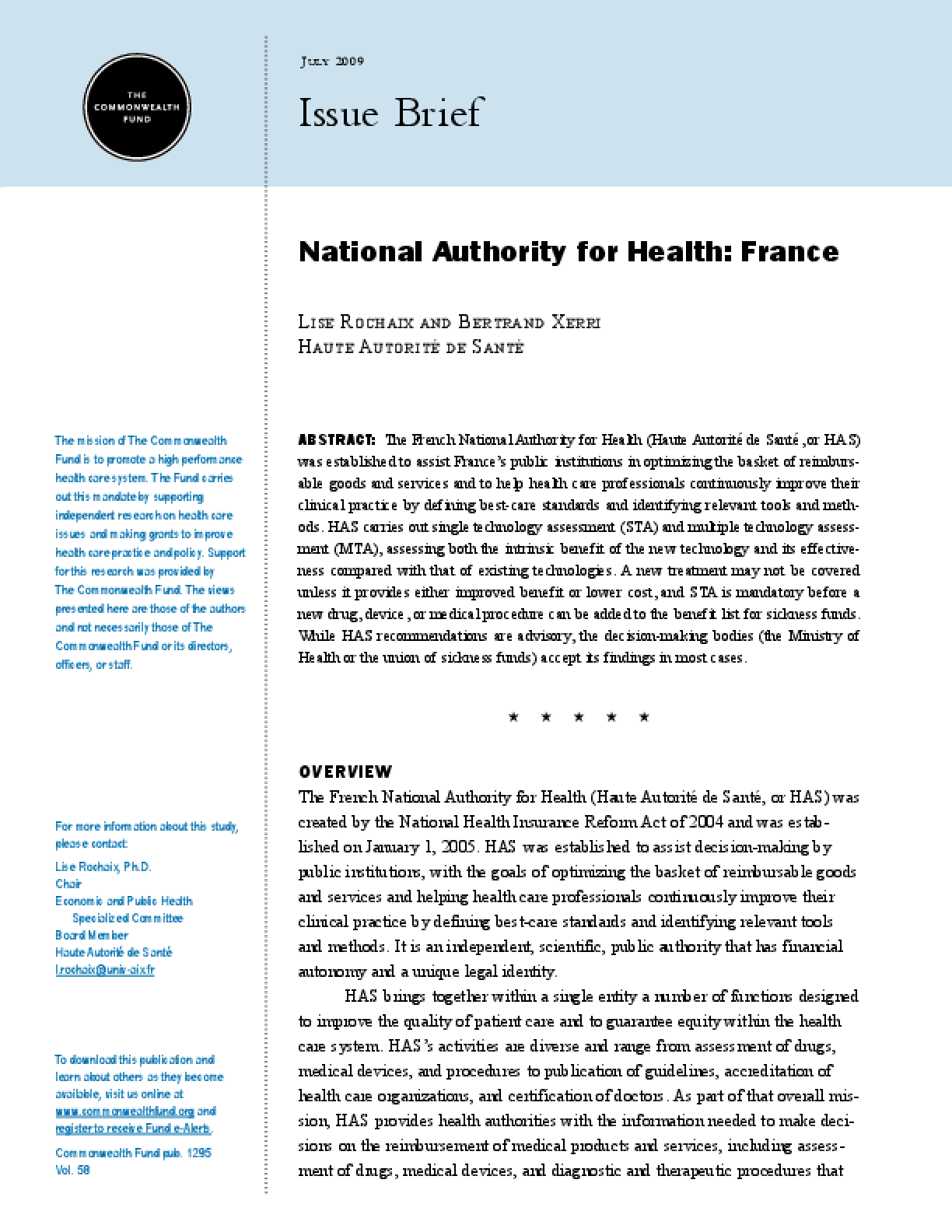 National Authority for Health: France