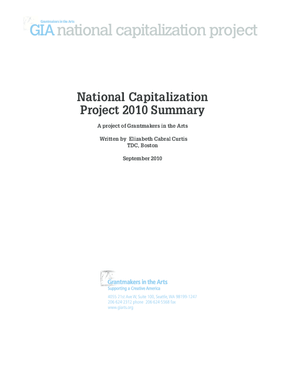 National Capitalization Project 2010 Summary