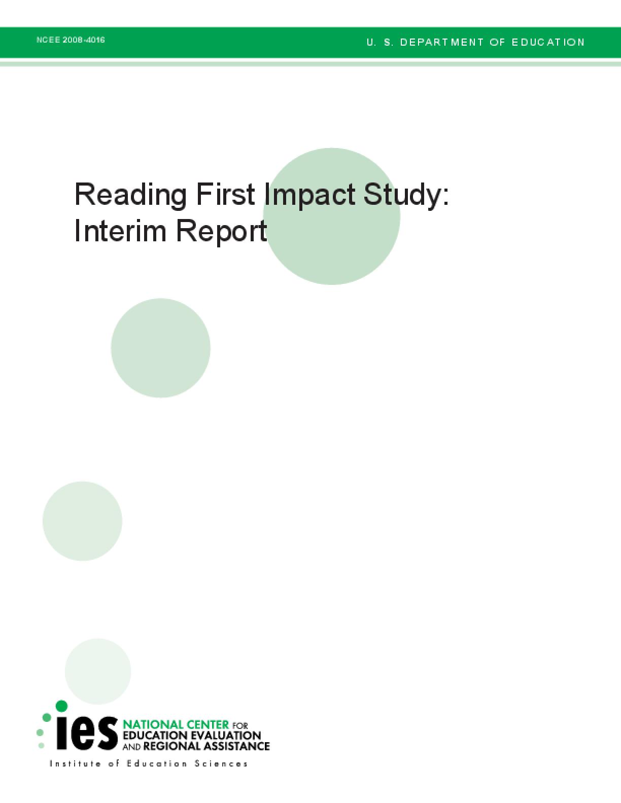 Reading First Impact Study: Interim Report
