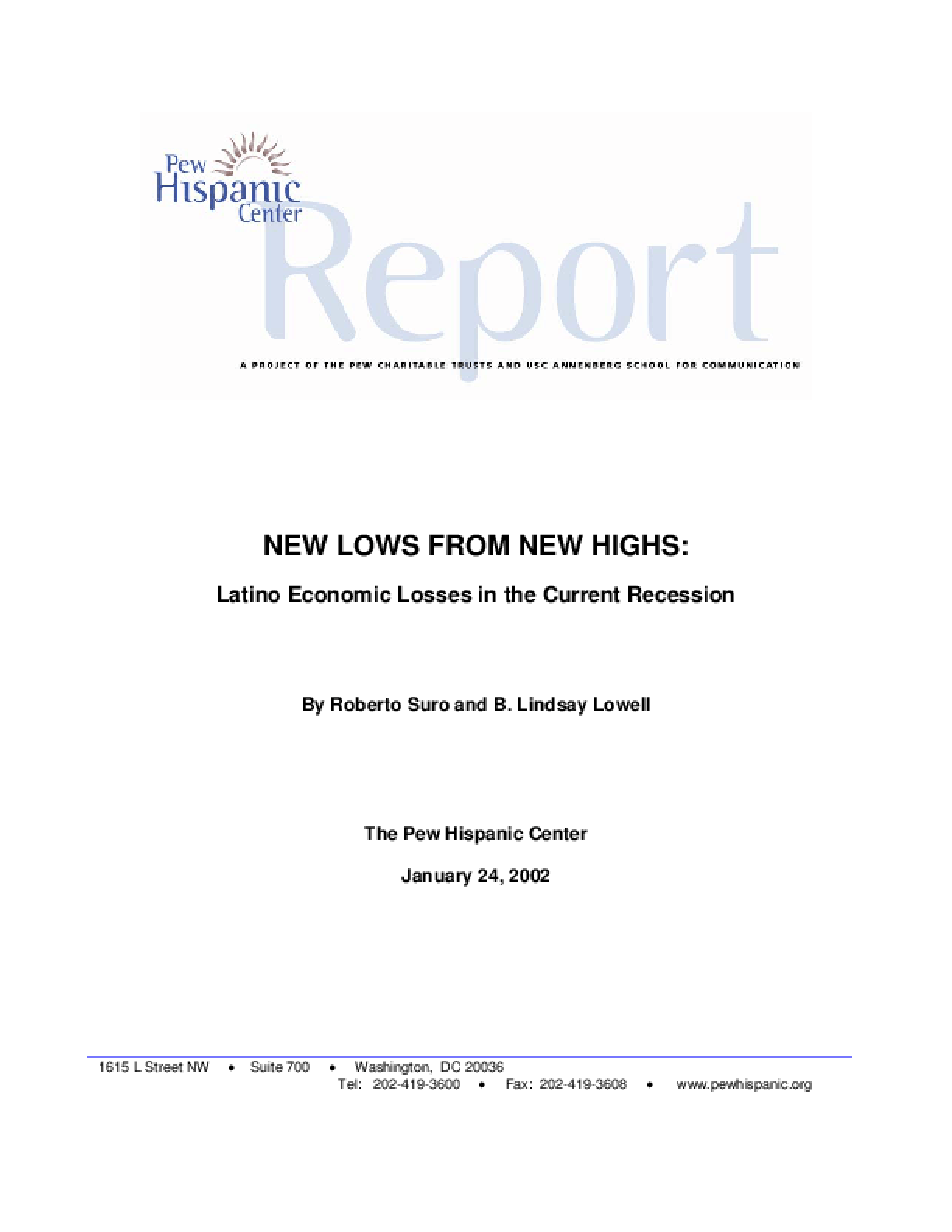 New Lows From New Highs: Latino Economic Losses in the Current Recession