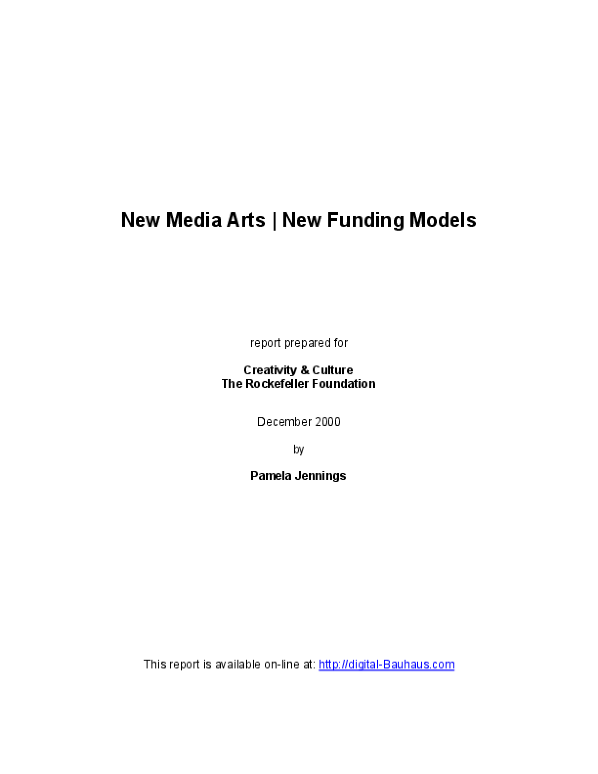 New Media Art/ New Funding Models