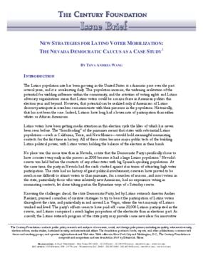 New Strategies for Latino Voter Mobilization: The Nevada Democratic Caucus as a Case Study