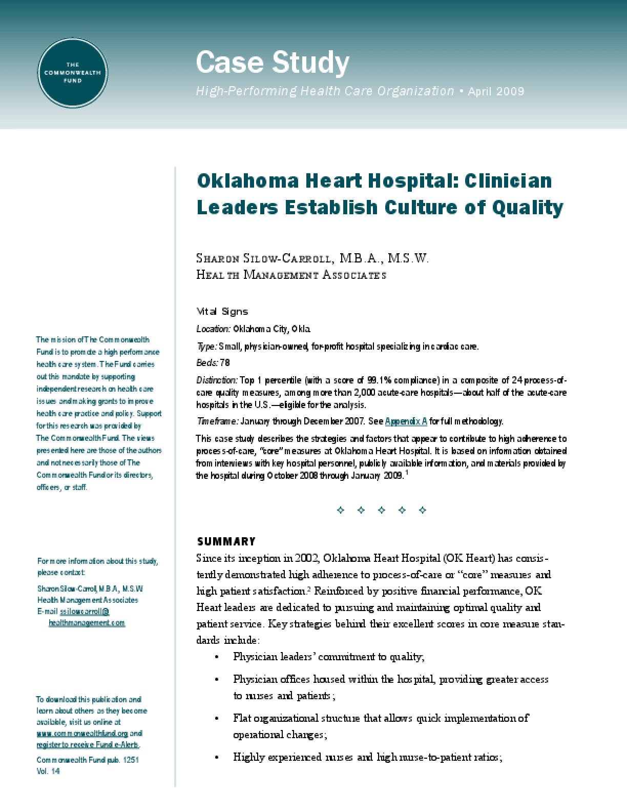 Oklahoma Heart Hospital: Clinician Leaders Establish Culture of Quality