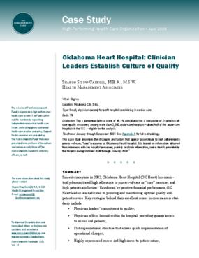 Oklahoma Heart Hospital: Clinician Leaders Establish Culture of Quality
