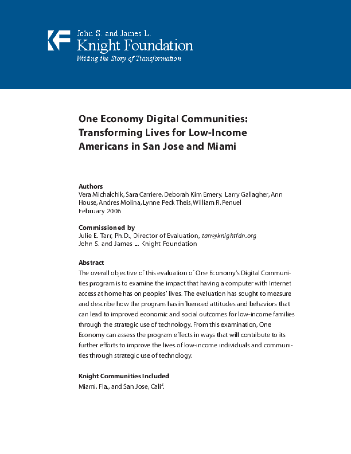 One Economy Digital Communities: Transforming Lives for Low-Income Americans in San Jose and Miami