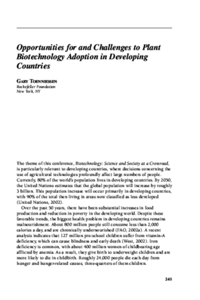 Opportunities for and Challenges to Plant Biotechnology Adoption in Developing Countries