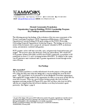 Organization Capacity Building/PONO Leadership Program: Key Findings and Recommendations