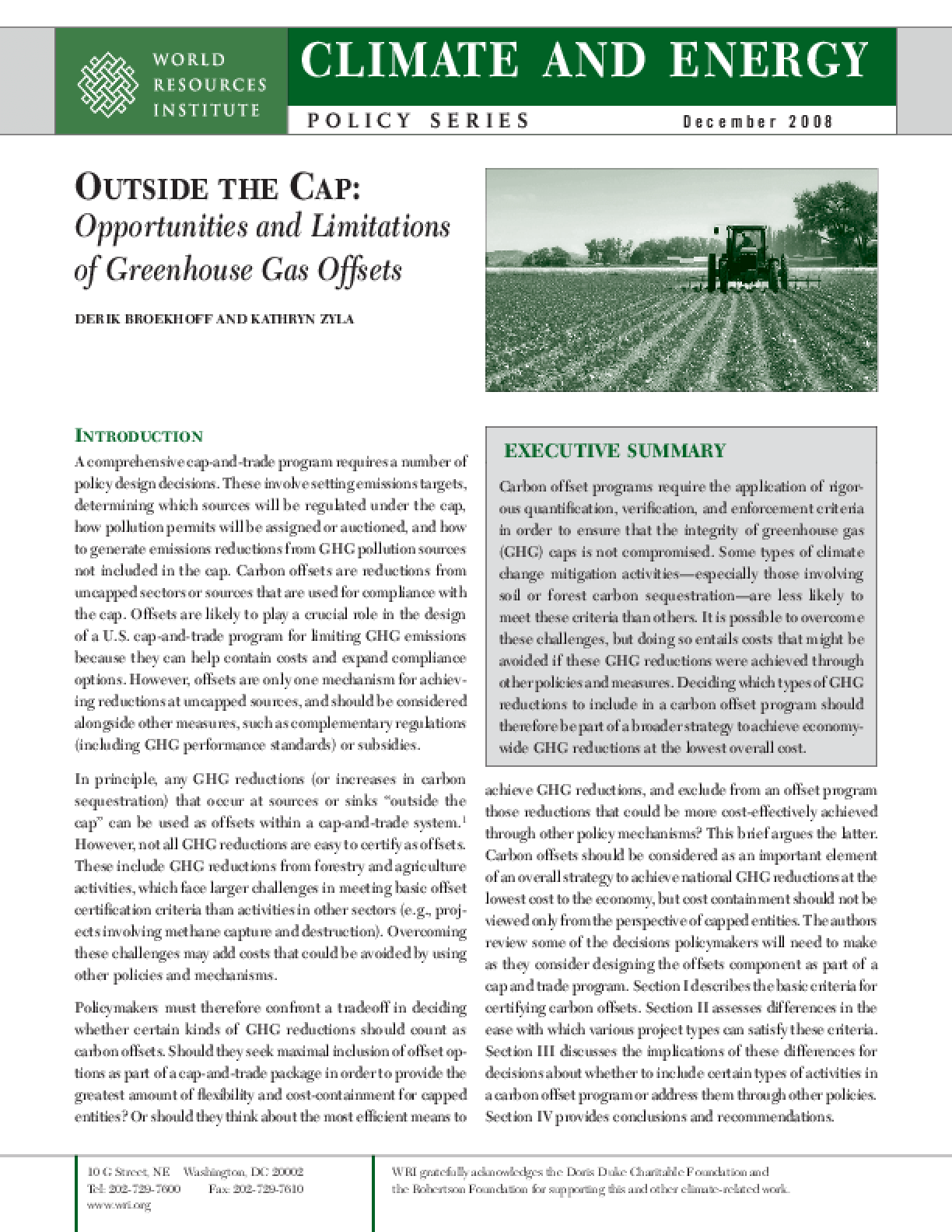 Outside the Cap: Opportunities and Limitations of Greenhouse Gas Offsets