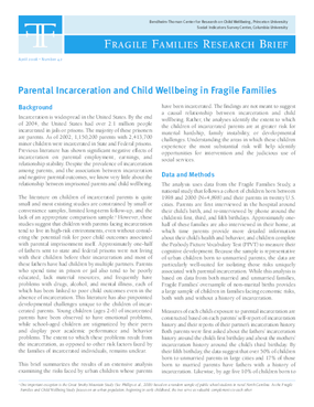 Parental Incarceration and Child Wellbeing in Fragile Families