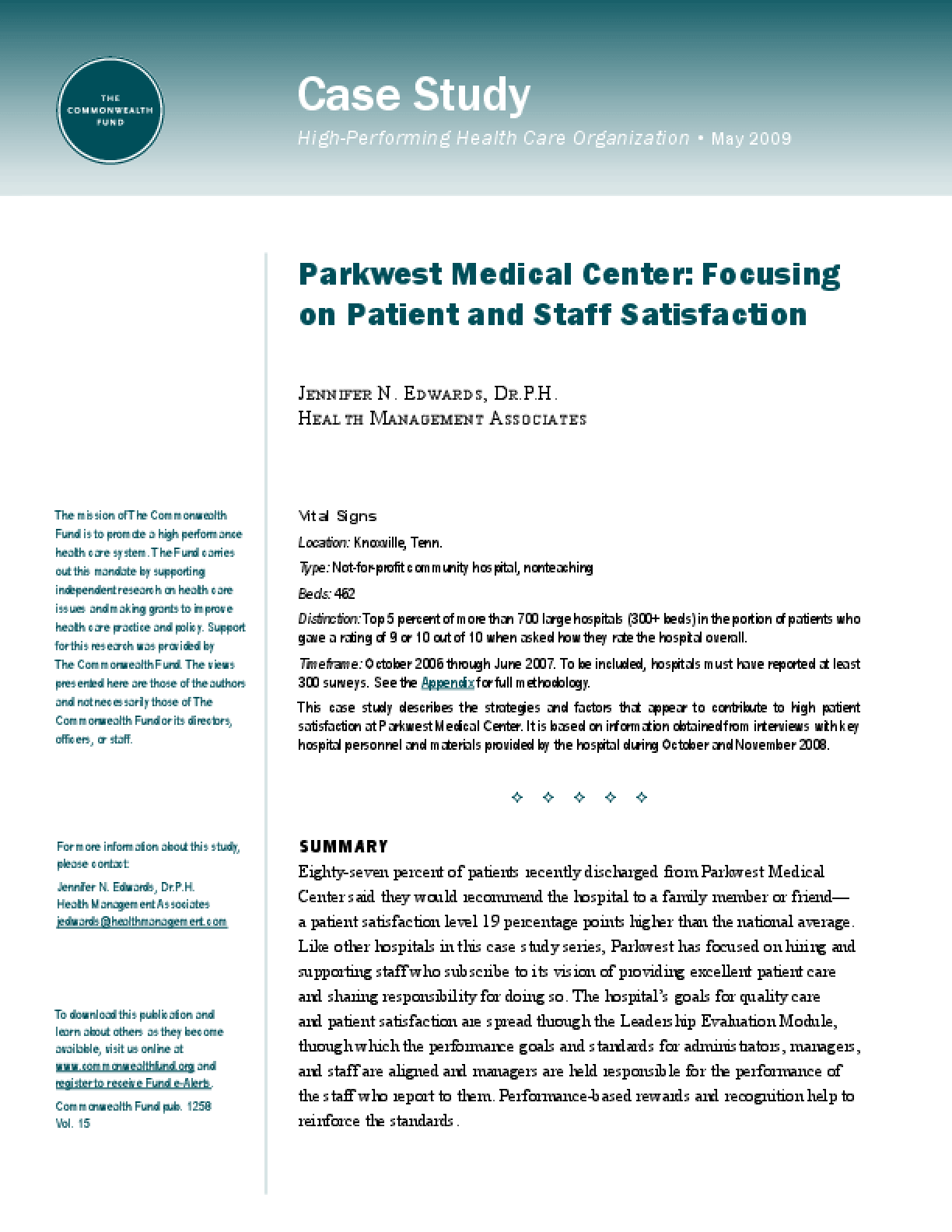 Parkwest Medical Center: Focusing on Patient and Staff Satisfaction
