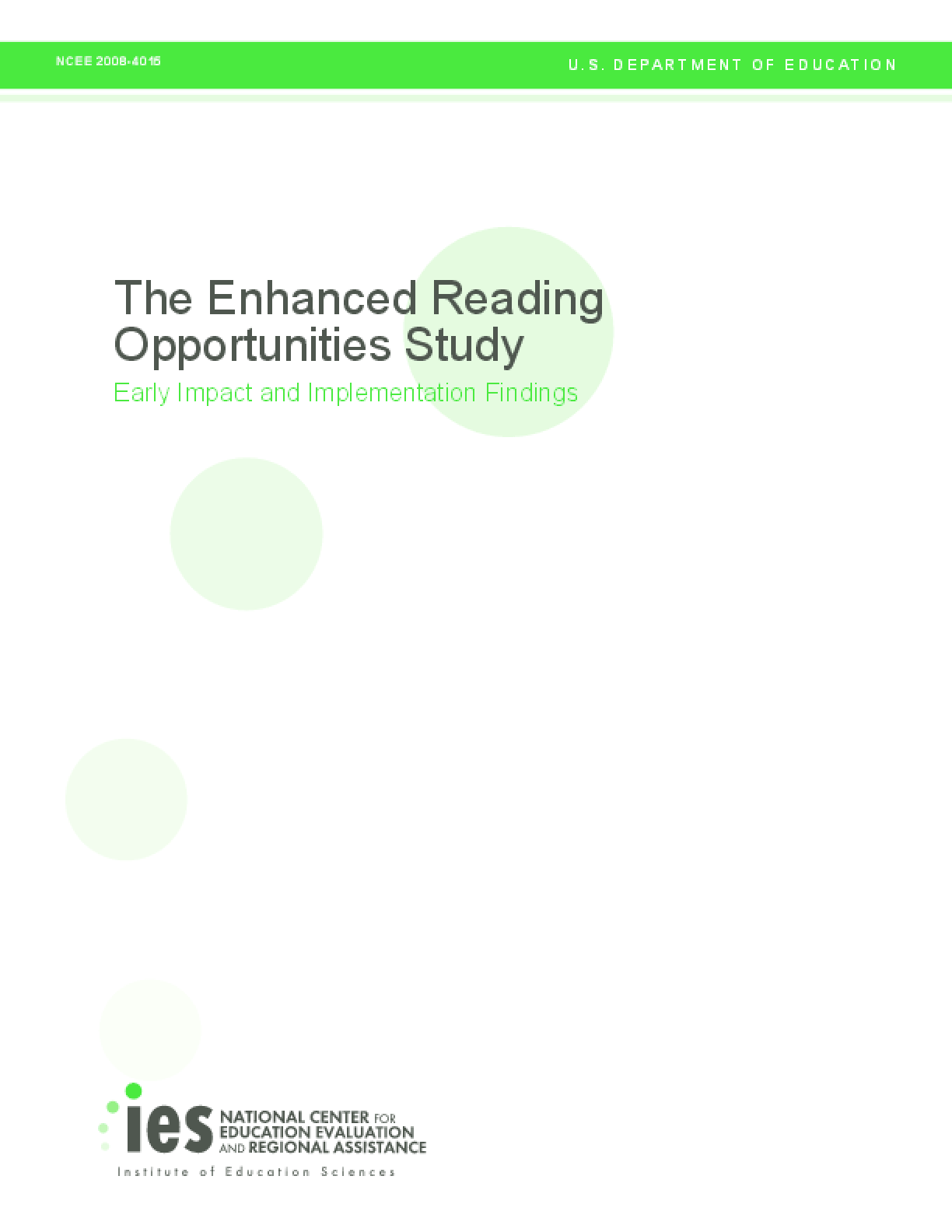 The Enhanced Reading Opportunities Study: Early Impact and Implementation Findings