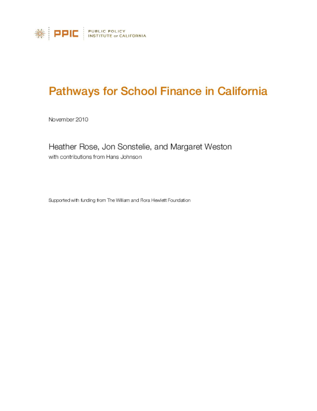 Pathways for School Finance in California