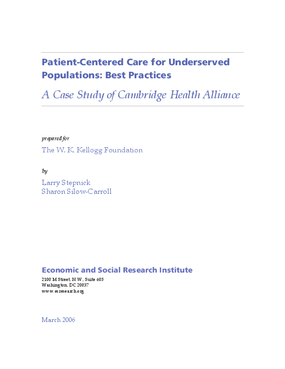 Patient-Centered Care for Underserved Populations: Best Practices -- A Case Study of Cambridge Health Alliance