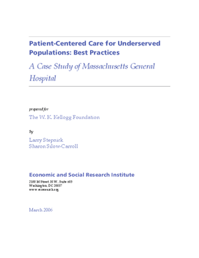 Patient-Centered Care for Underserved Populations: Best Practices -- A Case Study of Massachusetts General Hospital
