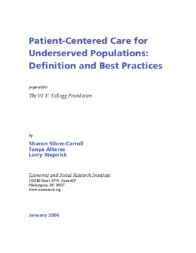 Patient-Centered Care for Underserved Populations: Definition and Best Practices