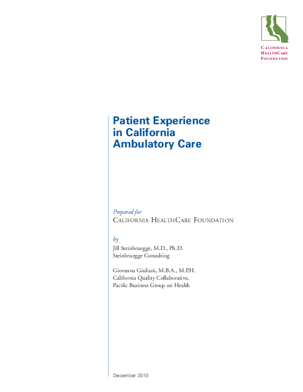 Patient Experience in California Ambulatory Care