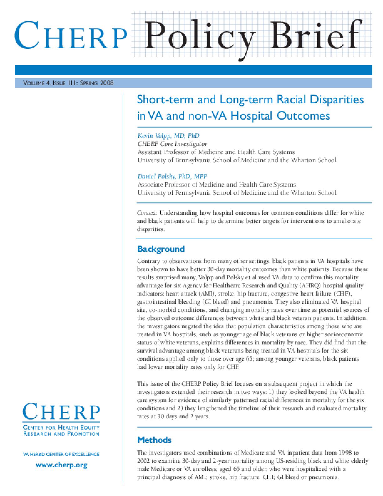 Short-term and Long-term Racial Disparities in VA and non-VA Hospital Outcomes