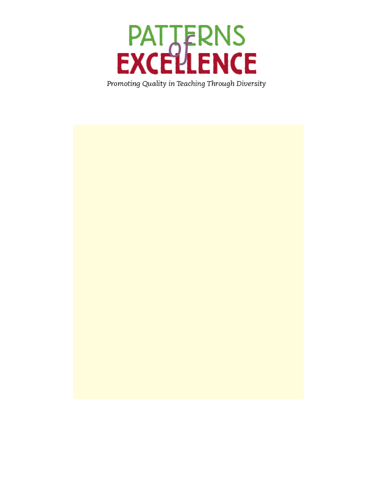 Patterns of Excellence: Promoting Quality in Teaching Through Diversity