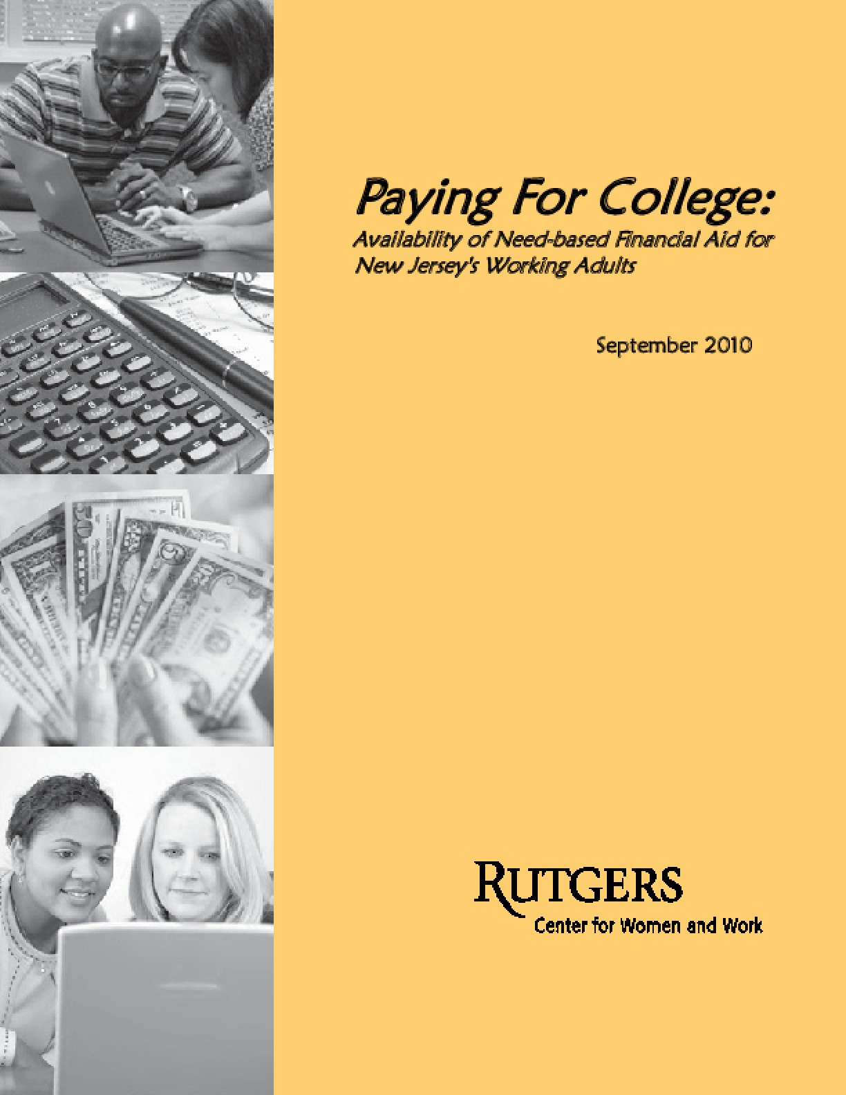 Paying for College: Availability of Need-Based Financial Aid for New Jersey's Working Adults