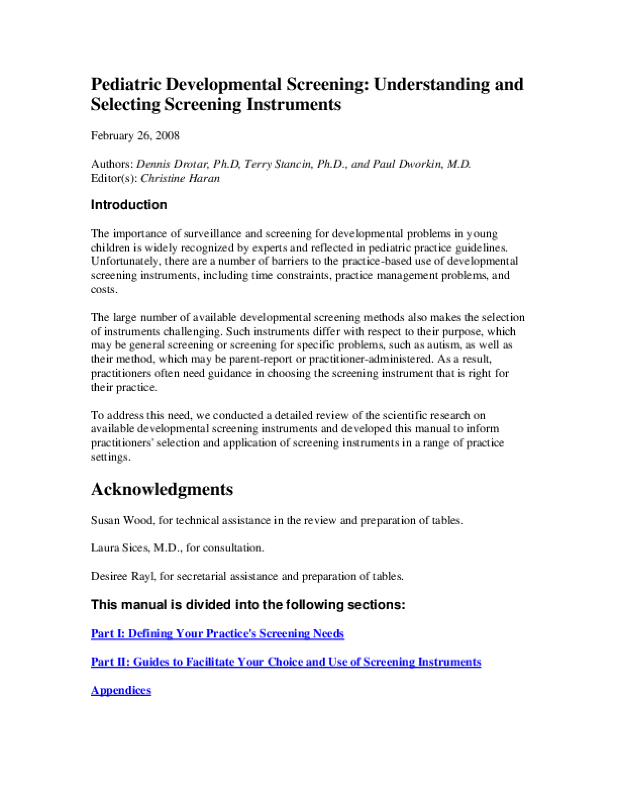 Pediatric Developmental Screening: Understanding and Selecting Screening Instruments