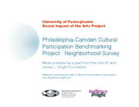 Philadelphia and Camden Cultural Participation Benchmark Project