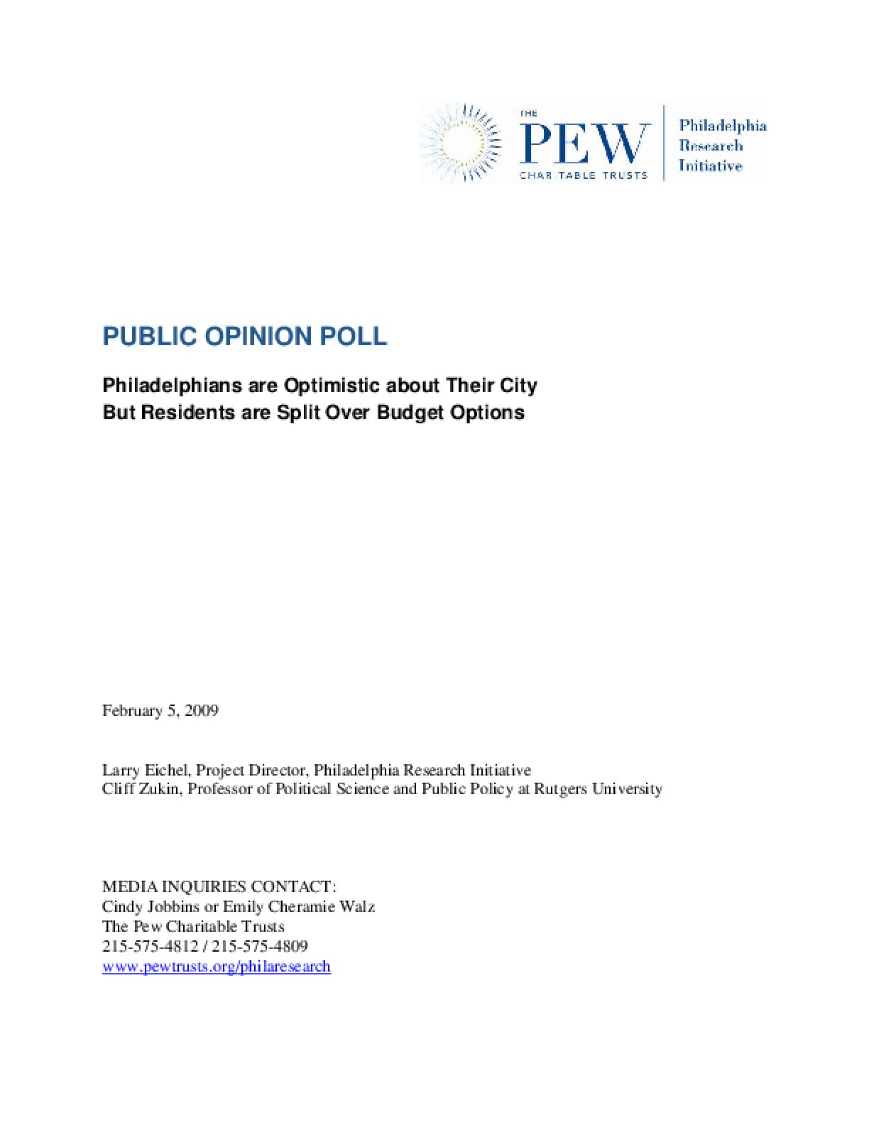Philadelphia Research Initiative Public Opinion Poll 2009