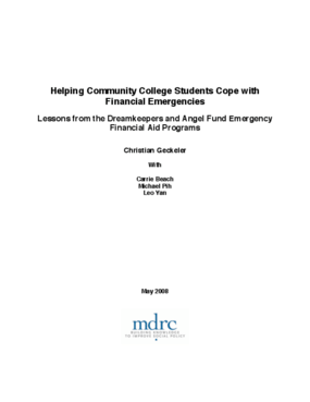 Helping Community College Students Cope with Financial Emergencies: Lessons from Dreamkeepers and Angel Fund Emergency Financial Aid Programs
