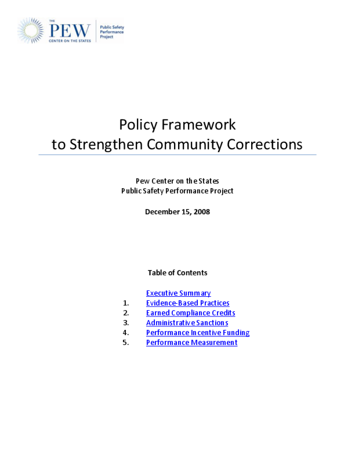 Policy Framework to Strengthen Community Corrections