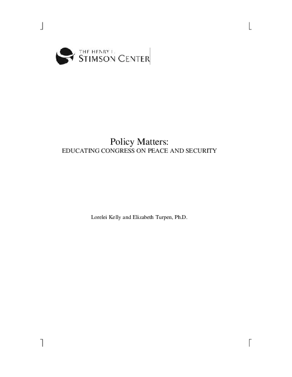 Policy Matters: Educating Congress on Peace and Security