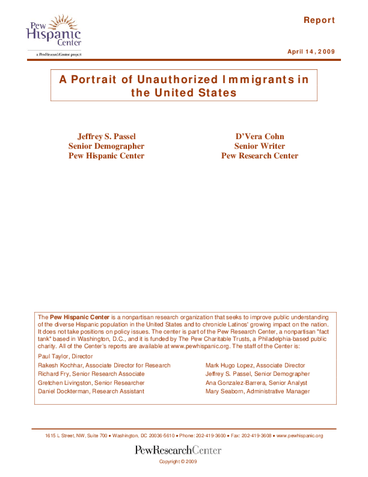 A Portrait of Unauthorized Immigrants in the United States