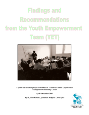 Youth-led report on Needs of Homeless LGBTTQQI Youth in SF, CA.