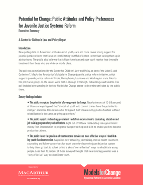 Potential for Change: Public Attitudes and Policy Preferences for Juvenile Justice Systems Reform