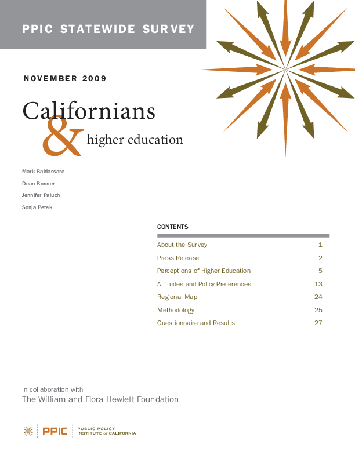 PPIC Statewide Survey: Californians and Higher Education 2009