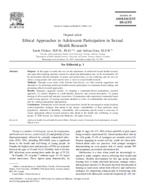 Ethical Approaches to Adolescent Participation in Sexual Health Research