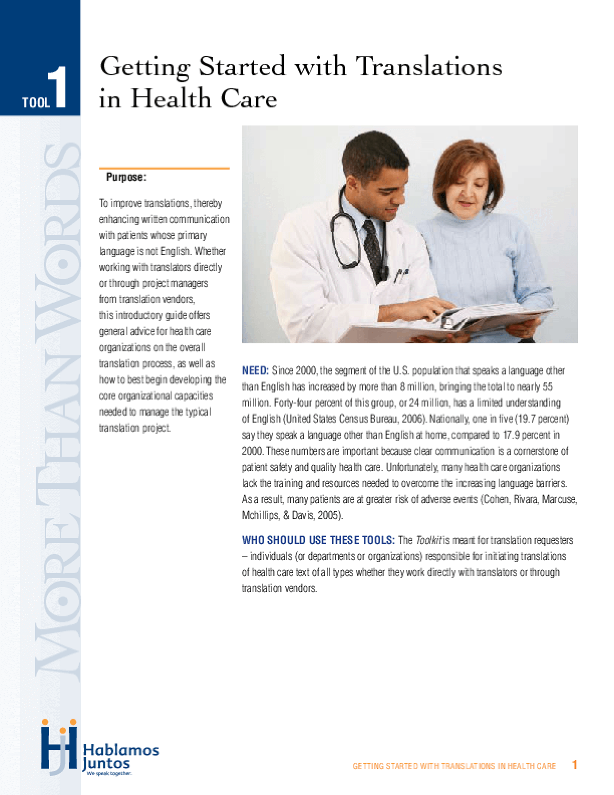 Practical Solutions for Effective Translated Health Information: Getting Started With Translations in Health Care