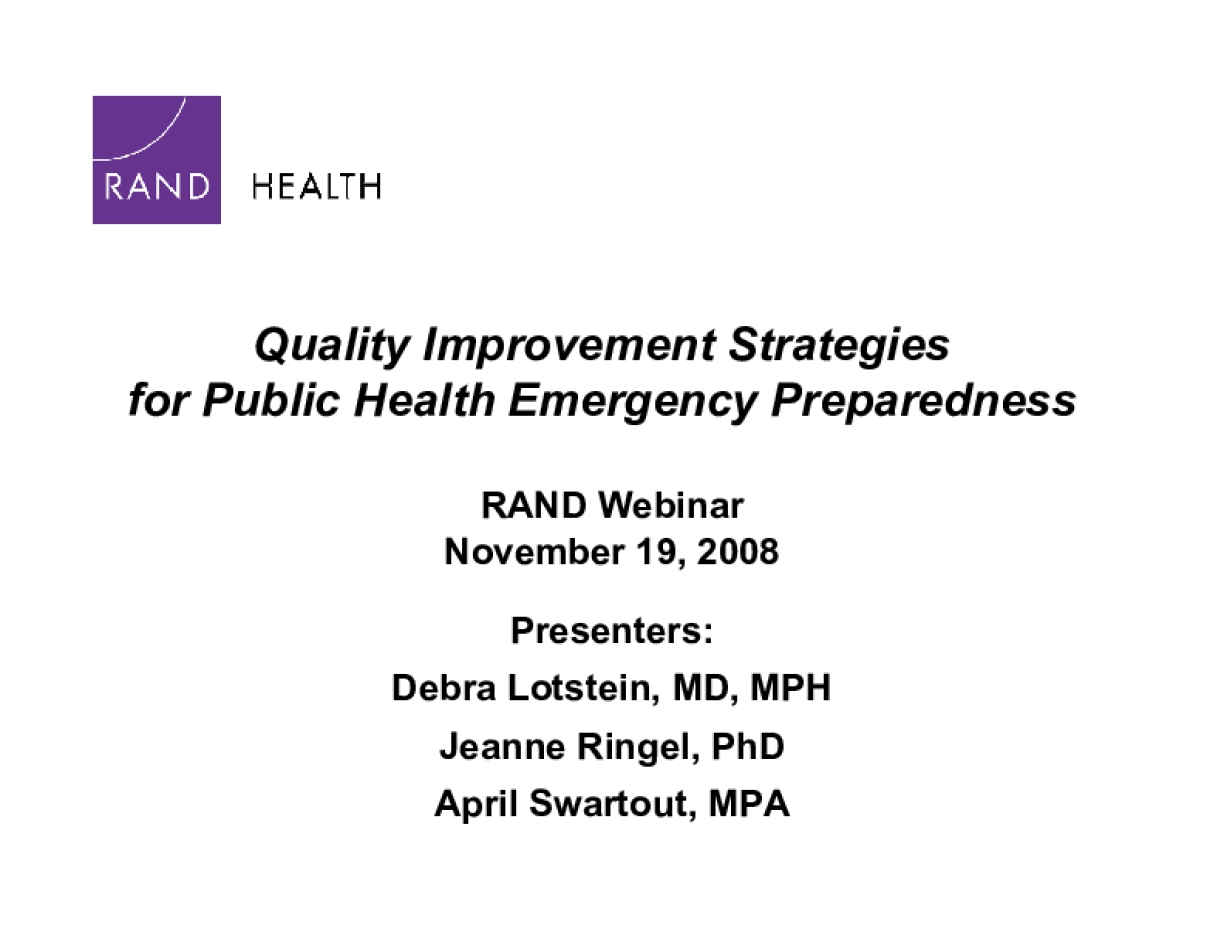 PREPARE for Pandemic Influenza: A Quality Improvement Toolkit