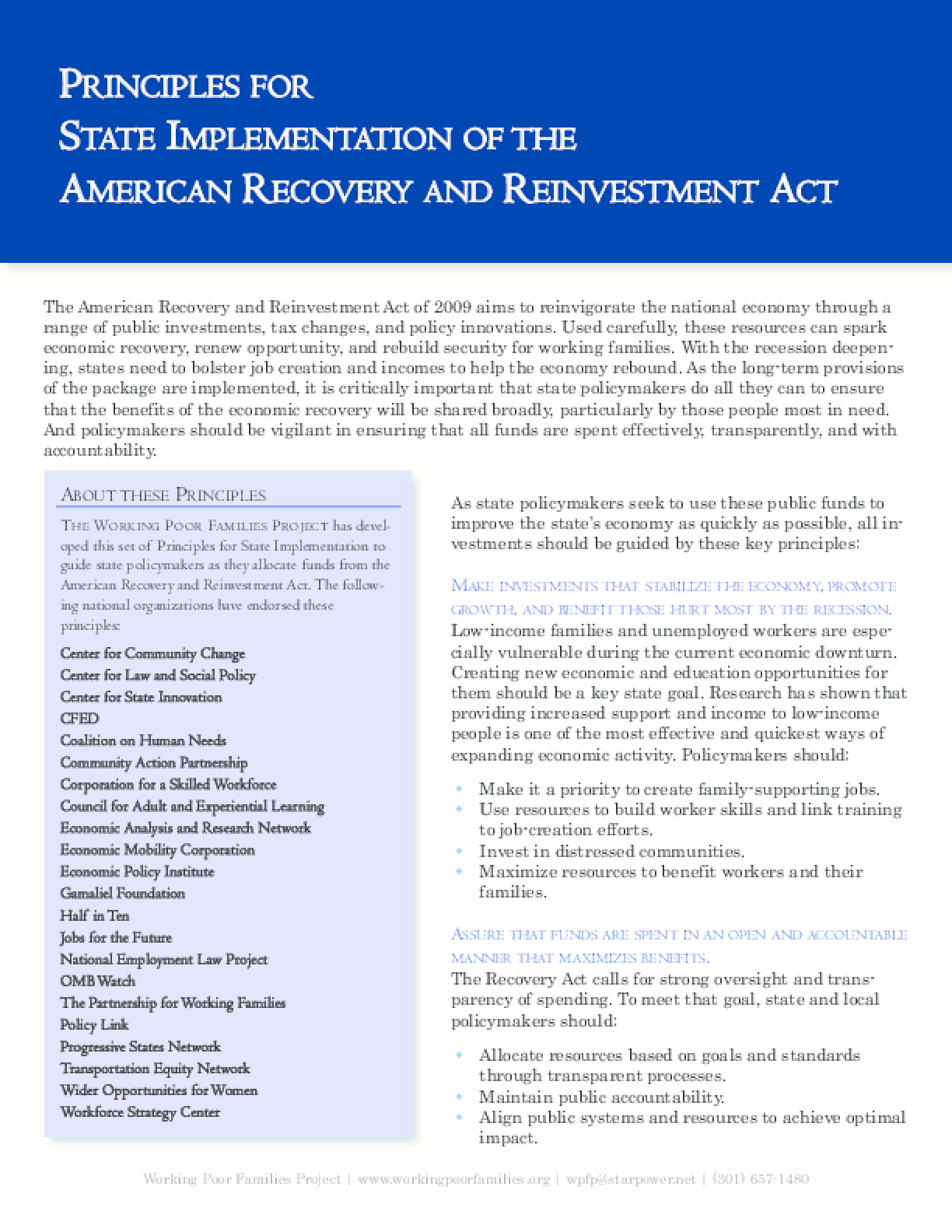 Principles for State Implementation of the American Recovery and Reinvestment Act