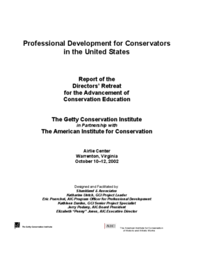 Professional Development for Conservators in the United States: Report of the Directors' Retreat for the Advancement of Conservation Education