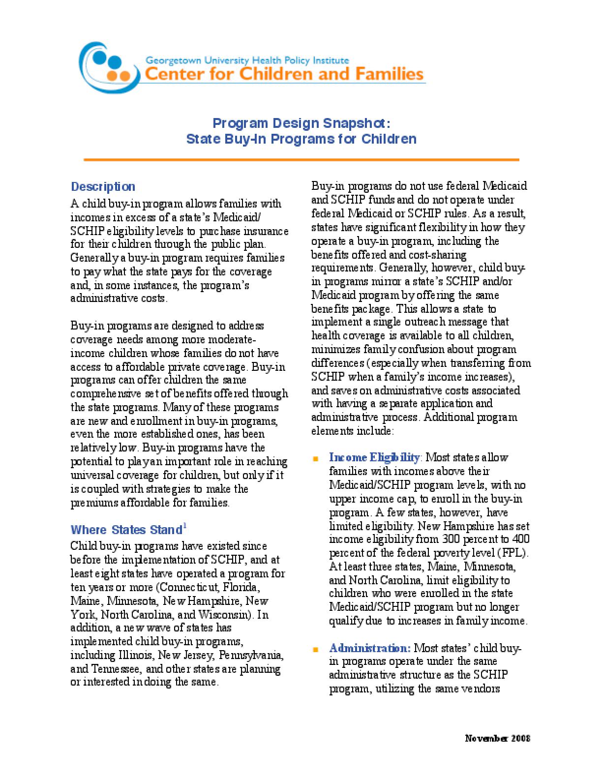 Program Design Snapshot: State Buy-In Programs for Children