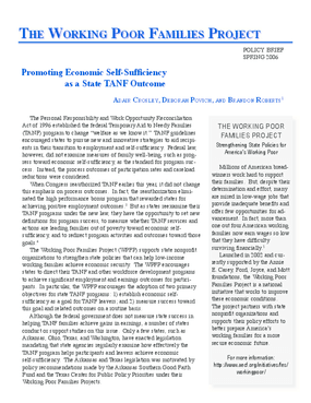 Promoting Economic Self-Sufficiency as a State TANF Outcome